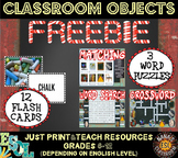 Classroom Objects Photo Flash Cards and Word Puzzles FREEBIE
