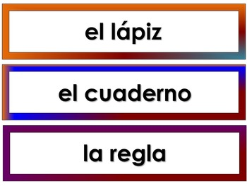 CLASSROOM OBJECTS:  Spanish Labels