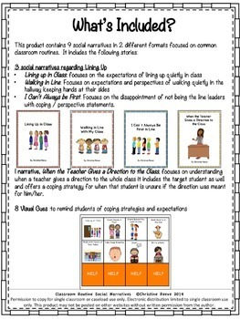 CLASSROOM ROUTINES SOCIAL NARRATIVES AND VISUAL SUPPORTS (Autism-Special Ed.)