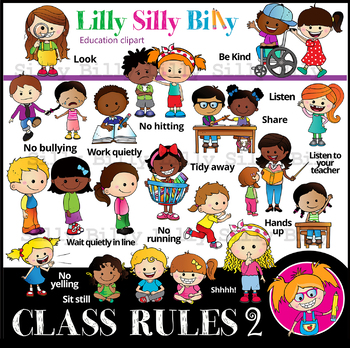CLASSROOM RULES 2 - B/W & Color clipart {Lilly Silly Billy}