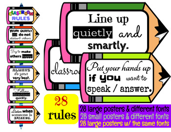 CLASSROOM RULES  (28 RULES/POSTERS) PENCIL THEME
