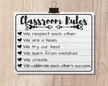 CLASSROOM RULES | 8x10 Poster | Classroom Art Decor