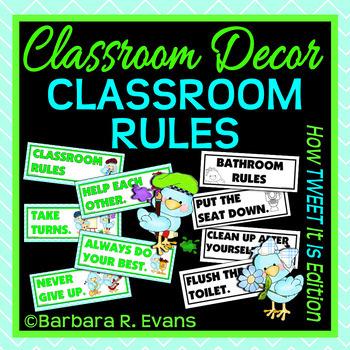 CLASSROOM RULES Tweet Bird Theme Classroom Decor Classroom Management