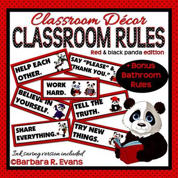 CLASSROOM RULES Panda Themed Classroom Decor Red Black Classroom Management