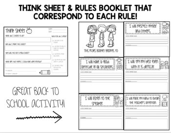 EDITABLE CLASSROOM RULES POSTERS - THINK SHEET - RULES BOOKLET - SHIPLAP