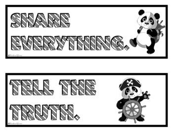 CLASSROOM RULES Panda Themed Classroom Decor Green Black Classroom Management
