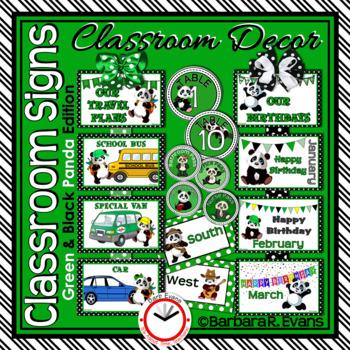 CLASSROOM SIGNS: Classroom Decor, Green & Black, Panda Theme