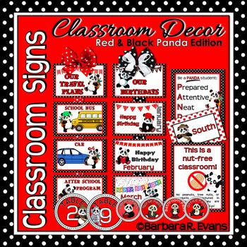 CLASSROOM SIGNS: Classroom Decor, Red & Black, Panda Theme, Info & Procedures