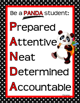 CLASSROOM SIGNS Classroom Management Panda Theme Classroom Decor Red Black