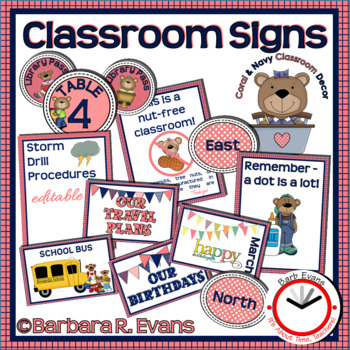 CLASSROOM SIGNS: Navy & Coral Edition