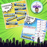 CLASSROOM SIGNS- SCHEDULE- LABELS- Comic- Superhero Theme Classroom Decor