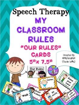 "CLASSROOM SPEECH ROOM BEHAVIOR RULES 5""x7.5"" cards hang th"