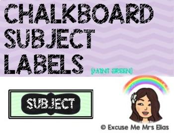 CLASSROOM SUBJECT LABELS - MINT GREEN
