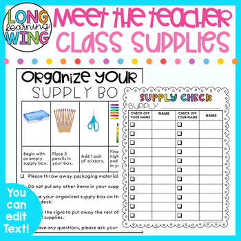 CLASSROOM SUPPLIES FOR MEET THE TEACHER EDITABLE