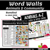 CLASSROOM WORD WALL DISPLAYS - ANIMALS A TO Z AND COMMUNIT