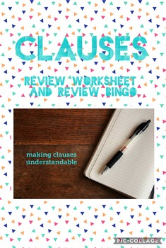 CLAUSES Study Guide and Review Bingo
