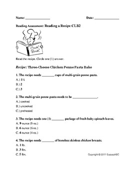 CLB 1 - 4 ESL/LINC Reading Assessments: Reading a Recipe *Recipe Included!