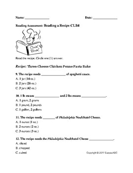 CLB 4 ESL/LINC Reading Assessment: Reading a Recipe *Recipe Included!