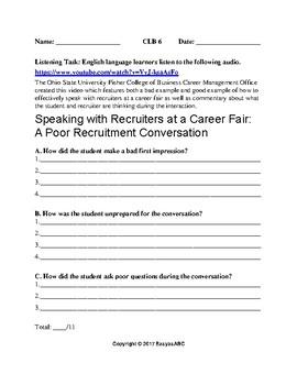 CLB 6 Listening Task Topic: Employment-A Poor Recruitment Conversation
