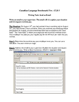 CLB Bundle - CLB5 and CLB6 ESL/LINC Writing Tasks: Send an Email