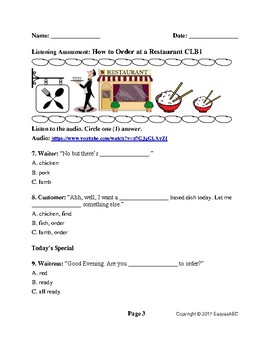 CLB1 ESL/LINC Listening Assessment: How to Order at a Restaurant