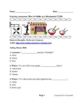 CLB4 ESL/LINC Listening Assessment: How to Order at a Restaurant