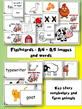 CLICK, CLACK, MOO: Cows that type - Flashcards, Mini-cards, Matching cards