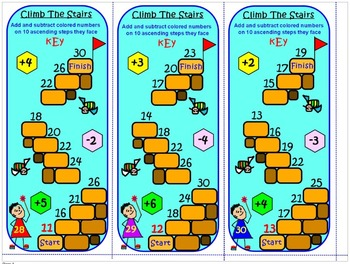 ADDITION & SUBTRACTION: CLIMB THE STAIRS 3 TEAMS IN-CLASS COMPETITION TASK CARDS