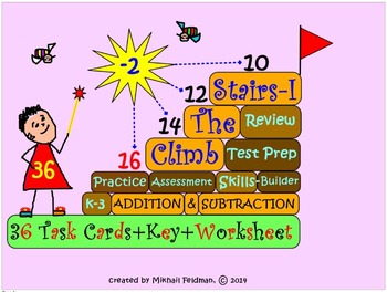 CLIMB THE STAIRS – 36 MATH TASK CARDS: ADDITION & SUBTRACT