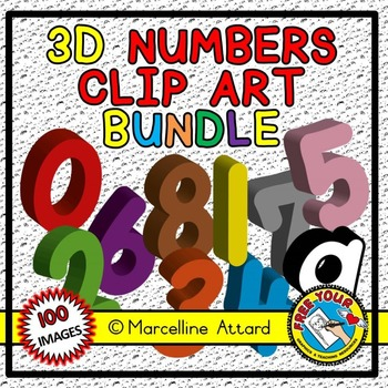3D NUMBERS CLIPART BUNDLE(SOLID SHAPES CLIPART NUMBERS) MATH CLIPART