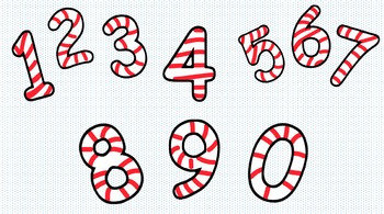 CLIP ART - Candy Cane Numbers