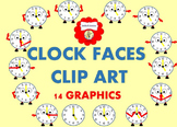 CLIP ART Cute Clocks with Expressions and Feelings and Directions