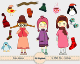CLIP ART: Cute little girls and winter elements - kids and children decor