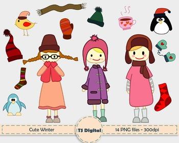 CLIP ART: Cute little girls and winter elements - kids and children decor