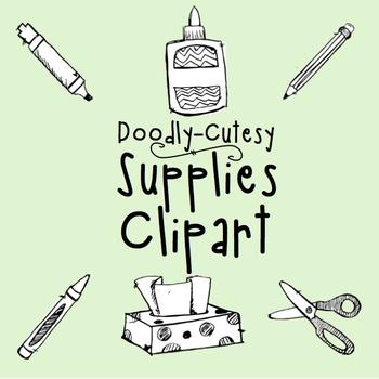 CLIP ART - Doodly-Cutesy - School Supplies