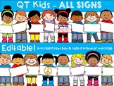 CLIP ART -  QT Kids - ALL Signs!  - Multicultural Kids Clipart