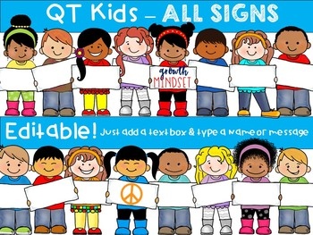 CLIP ART -  QT Kids - ALL Signs!  - Personal and Commercial use