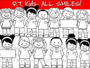 CLIP ART -  QT~Kids - ALL SMILES Blackline Masters - Personal and Commercial use