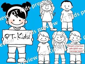 CLIP ART -  QT~Kids!  - BLACKLINE Masters