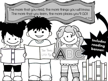 CLIP ART - QT~Kids LOVE Reading - Blackline Masters - Personal & Commercial use