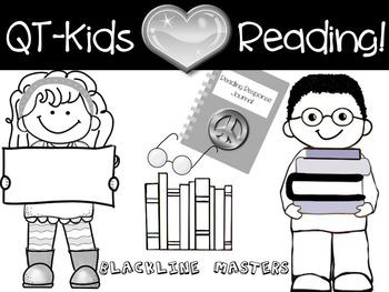 CLIP ART - QT~Kids LOVE Reading - Blackline Masters - Pers