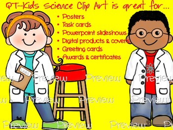 CLIP ART -  QT~Kids in the Lab!  - Personal and Commercial use