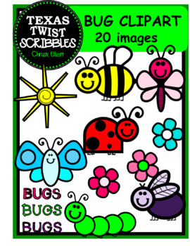BUG CLIP ART with black & white images