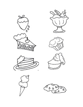 CLIP ART,BLACK AND WHITE SWEET TREATS, FUN STUFF