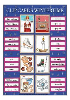 CLIP CARDS -  WINTER (Christmas) English ESL beginners game / vocabulary