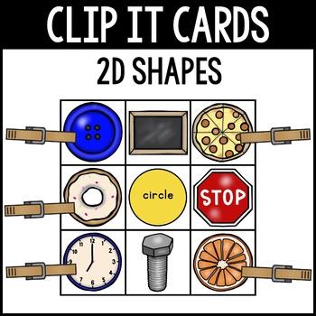 """CLIP IT CARDS-2D Shapes *Part of """"Clip It Cards Math Bundle"""""""