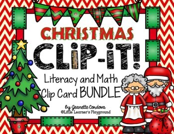 CLIP-IT!  Christmas Edition - Math and Literacy Clip Cards (GROWING BUNDLE)
