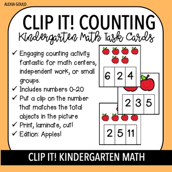 CLIP IT! Kindergarten Math Task Cards & Math Centers - Counting with Apples!