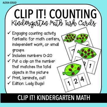 CLIP IT! (Lady Bugs) Kindergarten Math Task Cards - Counting and Cardinality