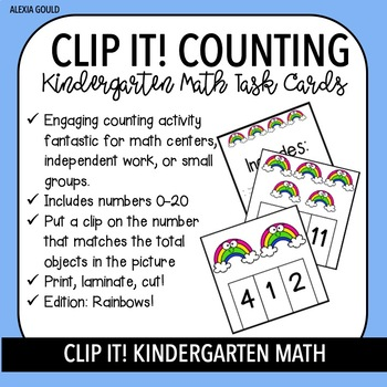 CLIP IT! Kindergarten Math Task Cards & Math Centers - Counting with Rainbows!